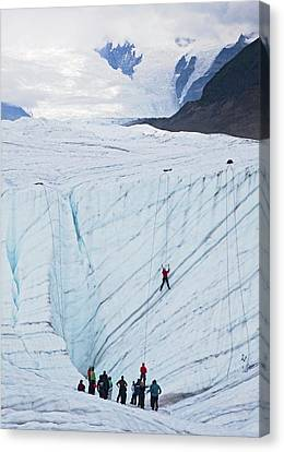 Ice-climbing Class On A Glacier Canvas Print by Jim West