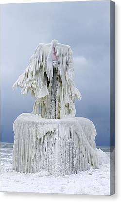 Ice Covered Warning Tower Along Lake Michigan In St. Joseph Michigan Canvas Print