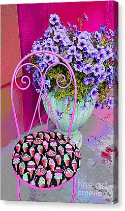 Ice Cream Cafe Chair Canvas Print by Nina Silver