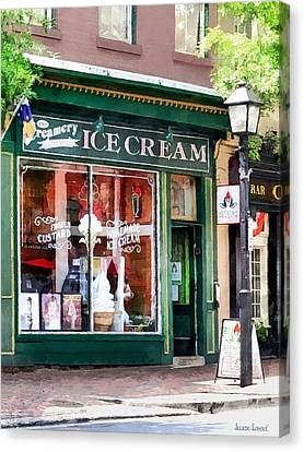 Alexandria Va - Ice Cream Parlor Canvas Print by Susan Savad