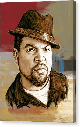 Ice Cube - Stylised Pop Art Drawing Portrait Poster  Canvas Print by Kim Wang