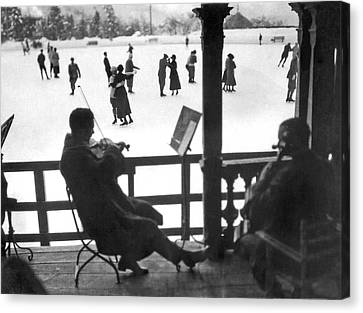 Side Porch Canvas Print - Ice Dancing In Switzerland by Underwood Archives