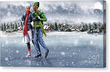 Ice Dancing On The Lake Canvas Print by Reggie Duffie