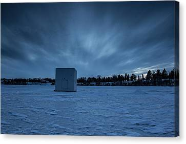 Ice Fishing Canvas Print by Aaron J Groen
