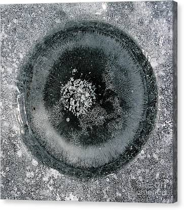 Ice Fishing Hole 9 Canvas Print by Steven Ralser