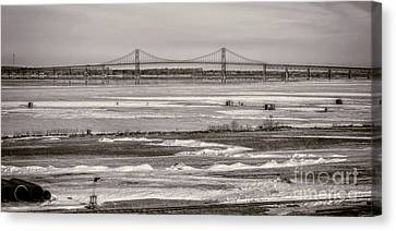Ice Fishing On The Saint Lawrence River Canvas Print by Patricia Trudell