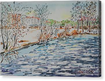 Canvas Print featuring the painting Ice Floes On River Rednitz by Alfred Motzer