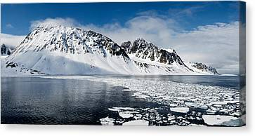 Ice Floes On Water With A Mountain Canvas Print by Panoramic Images
