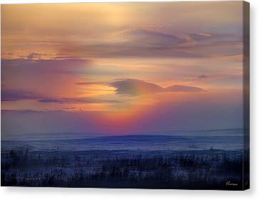 Ice Fog Sunrise Canvas Print by Andrea Lawrence