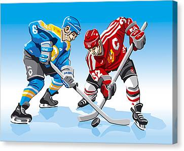Competition Canvas Print - Ice Hockey Face Off by Frank Ramspott