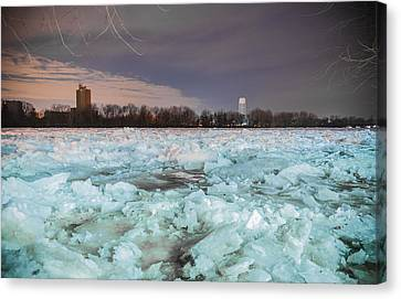 Ice Jam Canvas Print by Kristopher Schoenleber