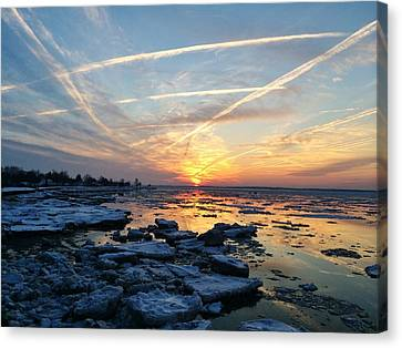 Canvas Print featuring the photograph Ice On The Delaware River by Ed Sweeney