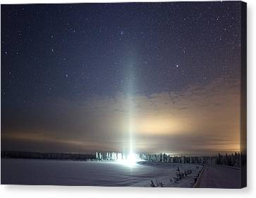 Ice Pillar In Night Sky Canvas Print by Science Photo Library