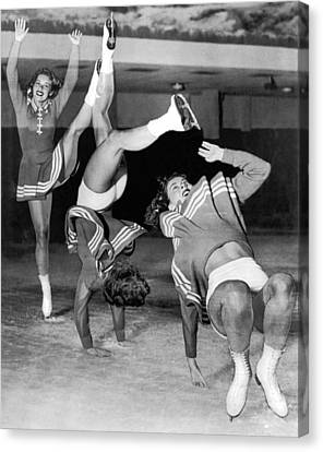 Ice Skater Triple Exposure Canvas Print by Underwood Archives