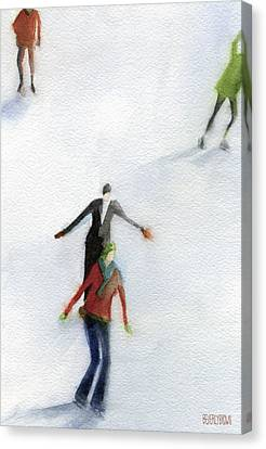 Ice Skaters Watercolor Painting Canvas Print by Beverly Brown