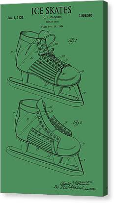 Ice Skates Patent On Green Canvas Print by Dan Sproul