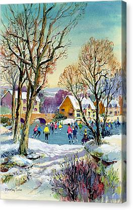 Ice Skating Canvas Print by Stanley Cooke