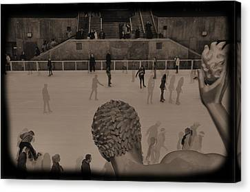 Ice Skating At Rockefeller Center In The Early Days Canvas Print by Dan Sproul