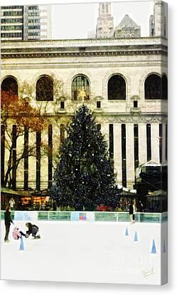 Ice Skating During The Holiday Season Canvas Print by Nishanth Gopinathan