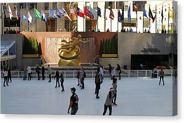 Ice Skating In Rockefeller Center Canvas Print by Dan Sproul