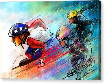 Ice Speed Skating 02 Canvas Print by Miki De Goodaboom