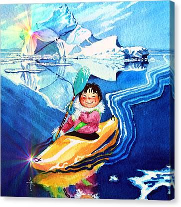 Iceberg Kayaker Canvas Print by Hanne Lore Koehler