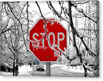 Iced Stop Sign Canvas Print by Valentino Visentini