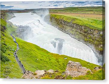 Gullfoss Waterfall Iceland Canvas Print by Cliff C Morris Jr