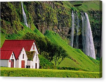 Iceland Farm Falls Canvas Print