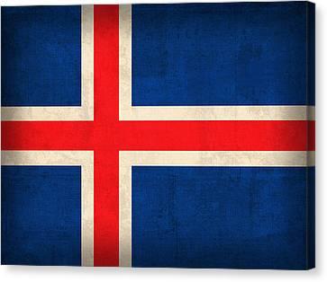Iceland Flag Vintage Distressed Finish Canvas Print