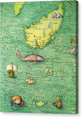 Iceland, From An Atlas Of The World In 33 Maps, Venice, 1st September 1553 Canvas Print by Battista Agnese