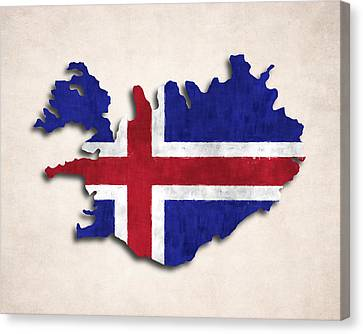 Iceland Map Art With Flag Design Canvas Print by World Art Prints And Designs