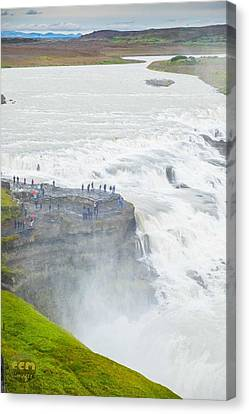 Gullfoss Waterfall Iceland Zoom Canvas Print by Cliff C Morris Jr