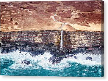 Rocks Canvas Print - Icelandic Coast Waterfall - Iceland Aerial Photograph by Duane Miller
