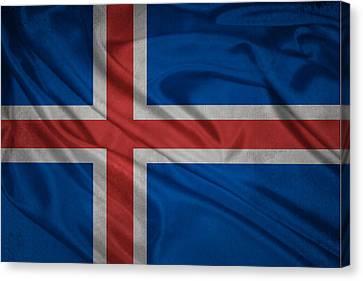 Icelandic Flag Waving On Canvas Canvas Print by Eti Reid