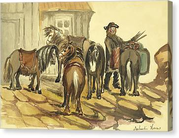 Icelandic Horses Circa 1862 Canvas Print by Aged Pixel