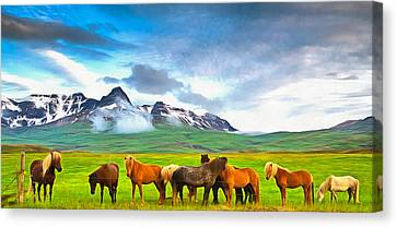 Icelandic Horses In Iceland Painting With Vibrant Colors Canvas Print