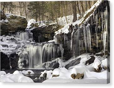 Canvas Print featuring the photograph Icicles Decorate R. B. Ricketts Waterfall by Gene Walls