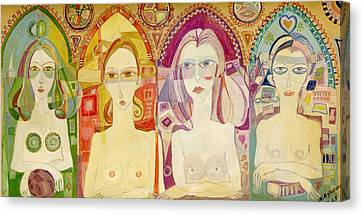Icon, 1970 Printing Oils On Board Canvas Print by Laila Shawa