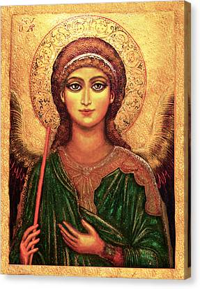 Canvas Print featuring the mixed media Icon Angel by Ananda Vdovic