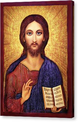 Canvas Print featuring the mixed media Icon Christ by Ananda Vdovic