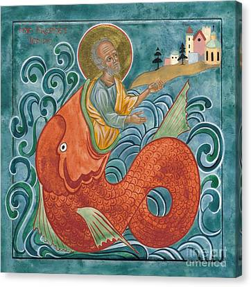 Icon Of Jonah And The Whale Canvas Print by Juliet Venter