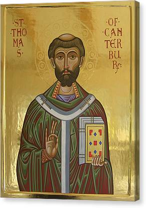 Icon Of St Thomas Becket Of Canterbury Canvas Print by Peter Murphy