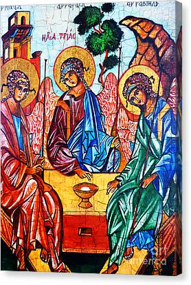 Icon Of The Holy Trinity Canvas Print by Ryszard Sleczka