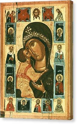 Icon Of The Virgin Of The Tenderness Canvas Print by Everett