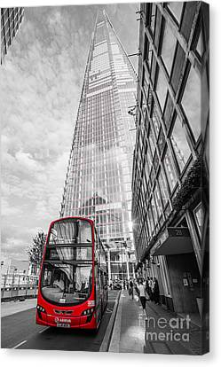 Iconic Red London Bus With The Shard - London - Selective Colour Canvas Print