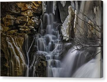 Icy Cascade Canvas Print by Ken Czworka