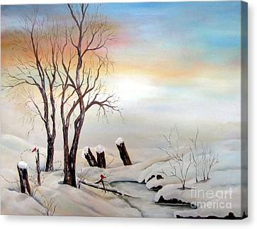 Canvas Print featuring the painting Icy Dawn by Anna-maria Dickinson