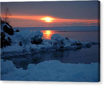 Canvas Print featuring the photograph Icy Lake Superior Sunrise by Sandra Updyke