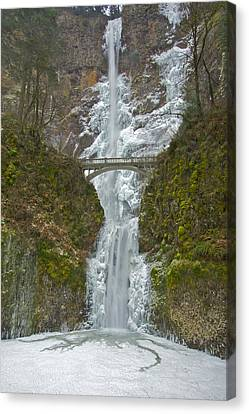 Canvas Print featuring the photograph Icy Multnomah Falls 120713a by Todd Kreuter